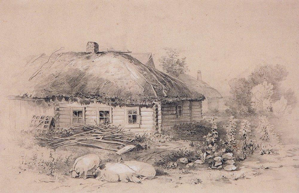 Landscape with hut - Aleksey Savrasov