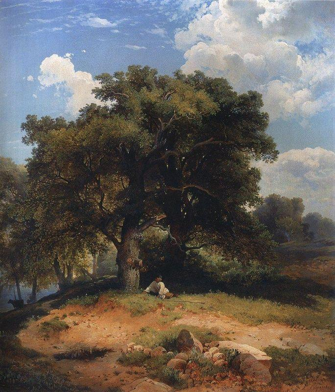 Landscape with oak trees and shepherd - Aleksey Savrasov