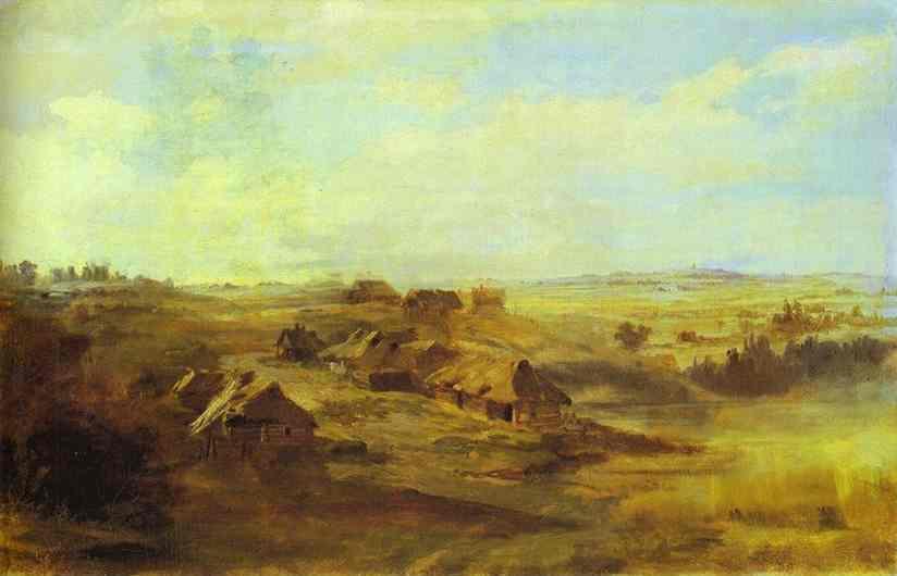 Landscape with Peasant's Huts and Pond near St. Petersburg - Fyodor Vasilyev