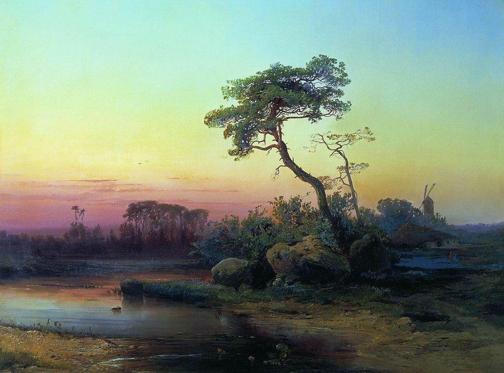 Landscape with pine - Aleksey Savrasov