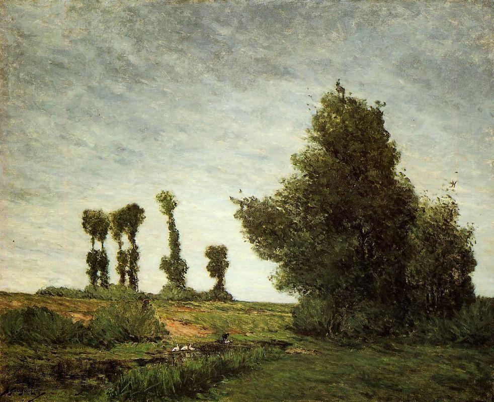 Landscape with Poplars - Paul Gauguin