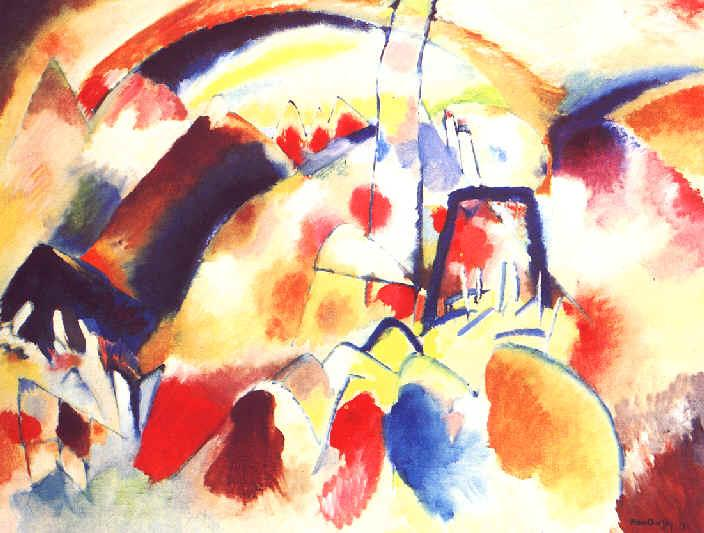 Landscape with red spots -  Wassily Kandinsky