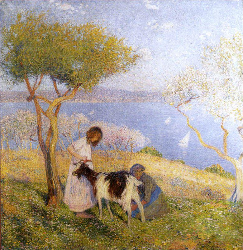 Landscape with the goat - Henri Martin