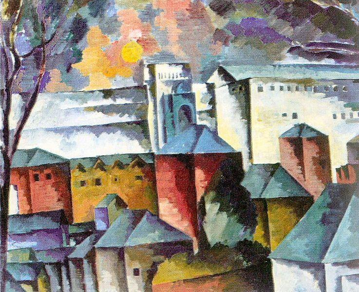 Landscape with the monastery walls - Aristarkh Lentulov