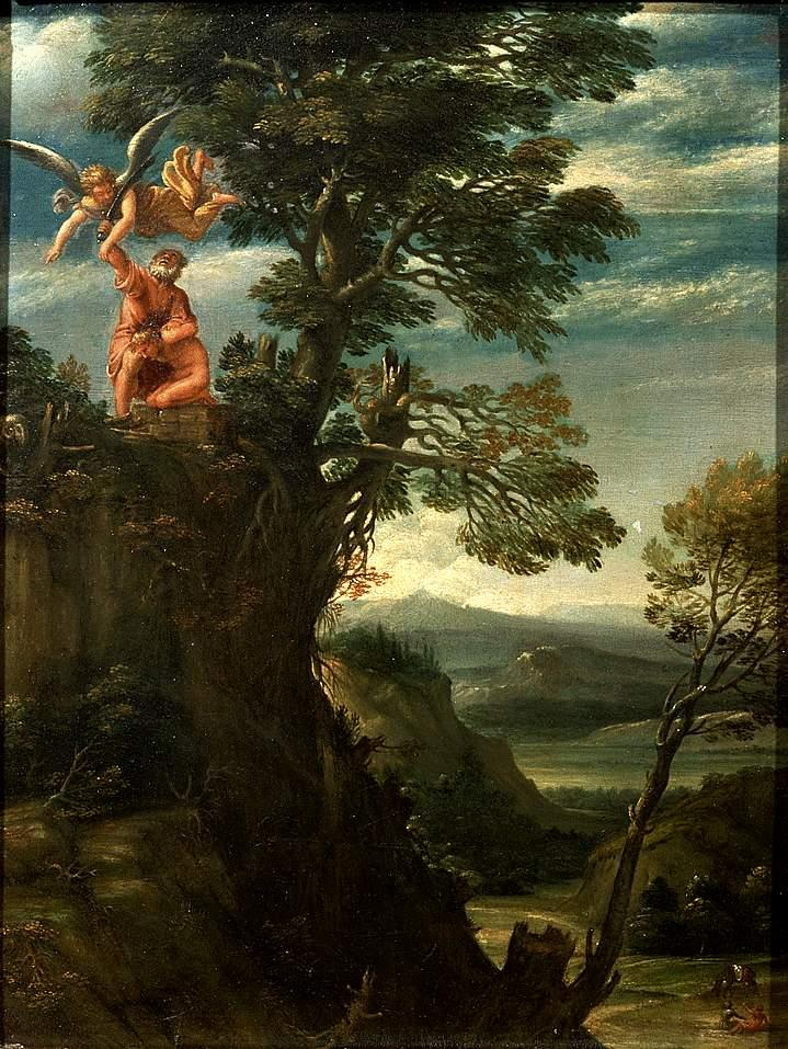Landscape with the sacrifice of Isaac - Annibale Carracci