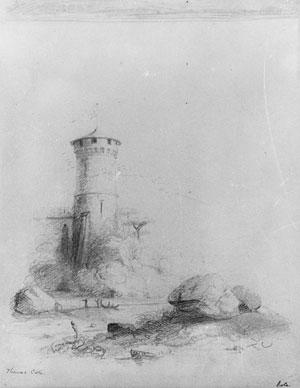 Landscape with Tower (from McGuire Scrapbook) - Thomas Cole