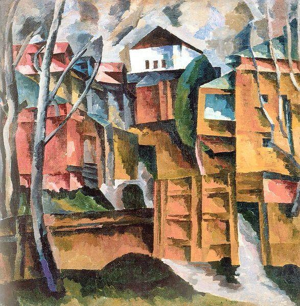 Landscape with white house and the yellow gate - Aristarkh Lentulov