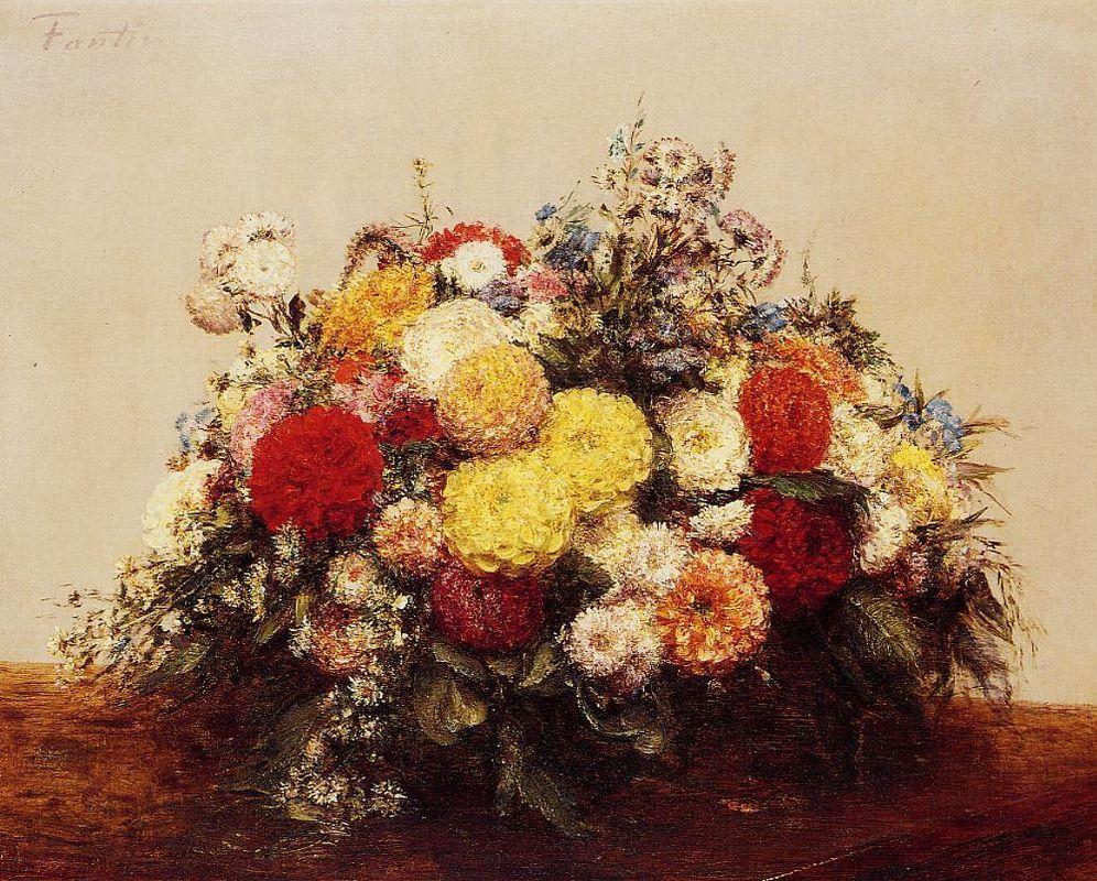 Large Vase of Dahlias and Assorted Flowers - Henri Fantin-Latour