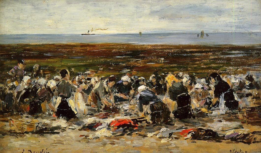 Laundresses on the beach, Low tide - Eugene Boudin