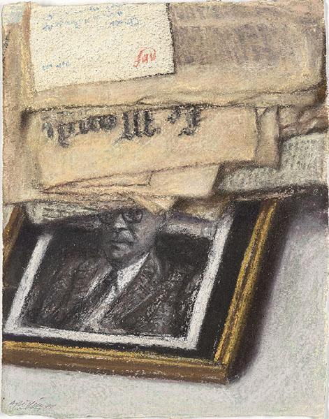 Le Monde Newspaper and Framed Portrait - Avigdor Arikha