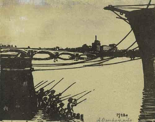 Leningrad. Fishing boys. - Anna Ostroumova-Lebedeva