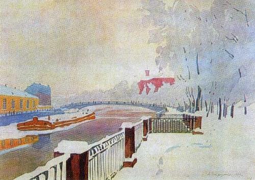 Leningrad. Fontanka and the Summer Garden in frost. - Anna Ostroumova-Lebedeva