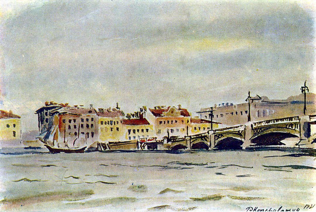 Leningrad. The embankment of the Neva. - Pyotr Konchalovsky