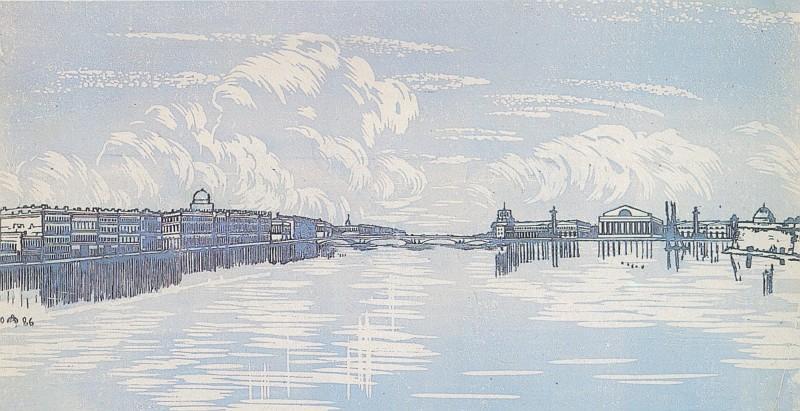 Leningrad. View from Trinity Bridge. - Anna Ostroumova-Lebedeva