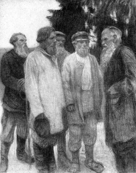 Leo Tolstoy amoung the Peasants - Nikolay Bogdanov-Belsky
