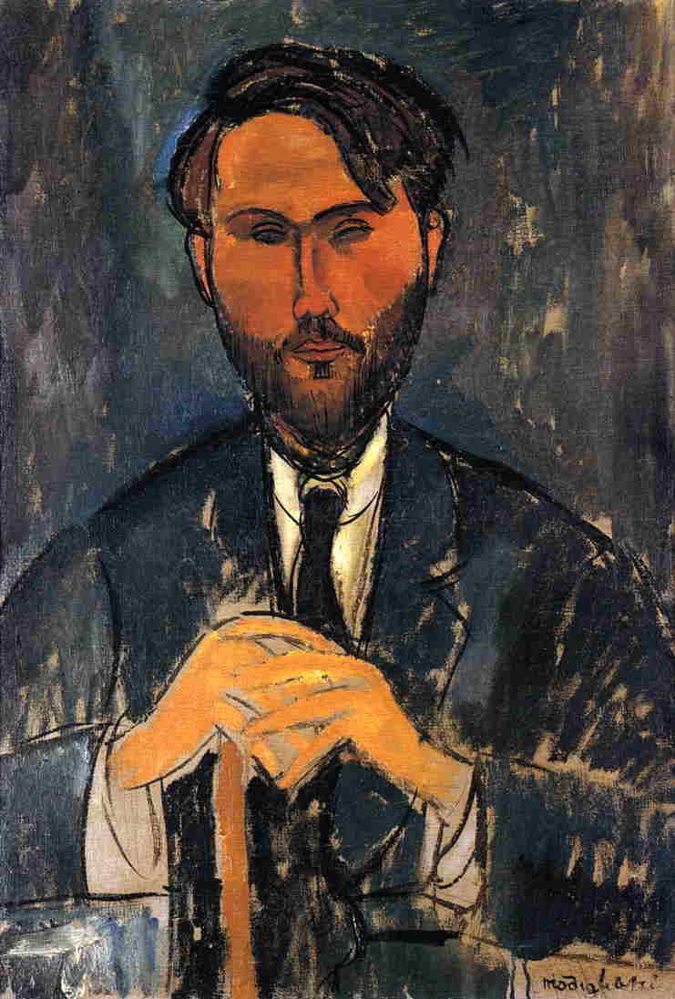 Leopold Zborowski with a walking stick - Amedeo Modigliani
