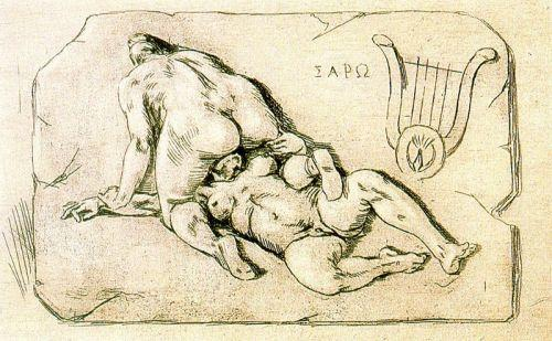 Lesbos, Known as Sappho - Felicien Rops