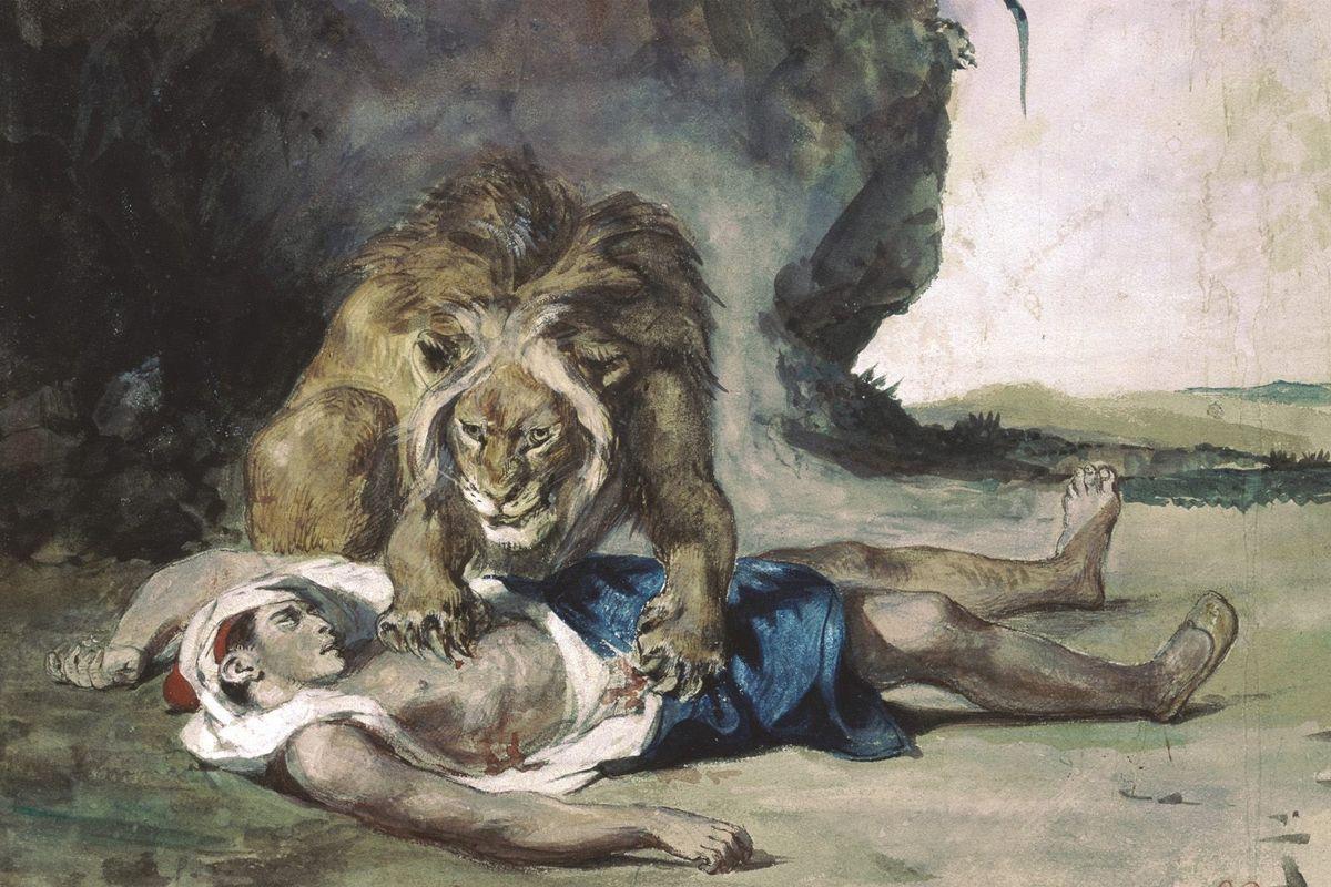 Lion Rending Apart a Corpse - Eugene Delacroix