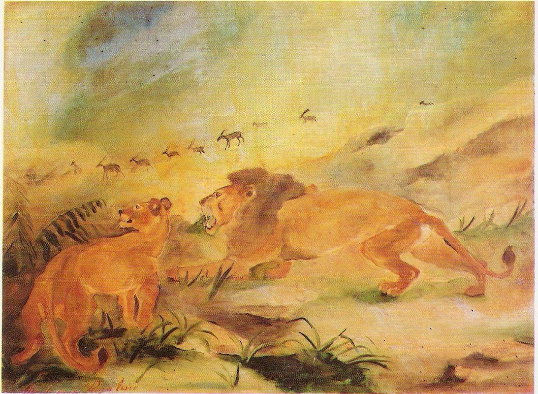 Lion with lioness - Antonio Ligabue
