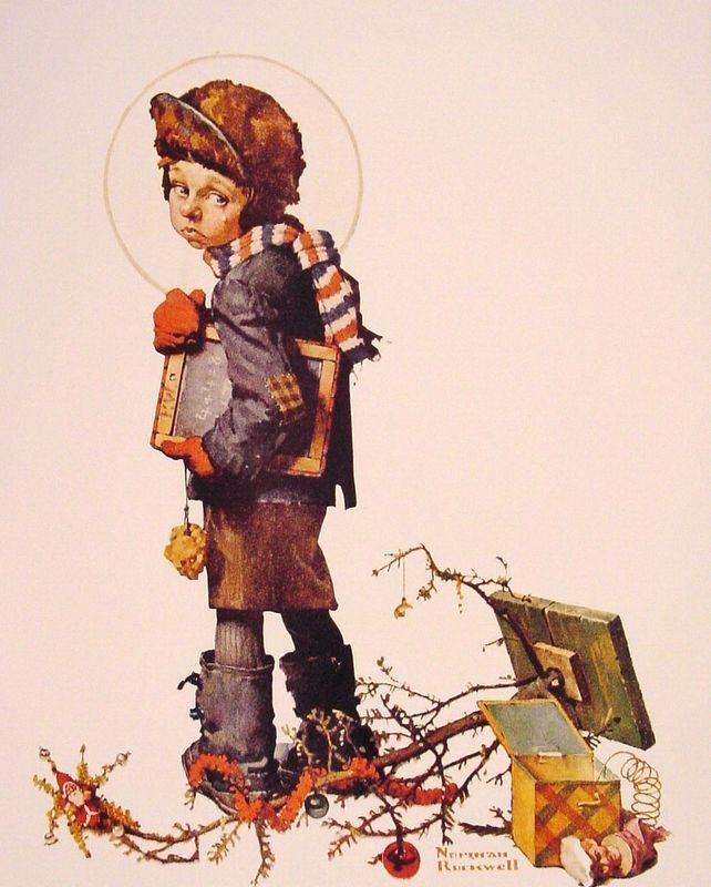 Little Boy holding Chalk Board - Norman Rockwell