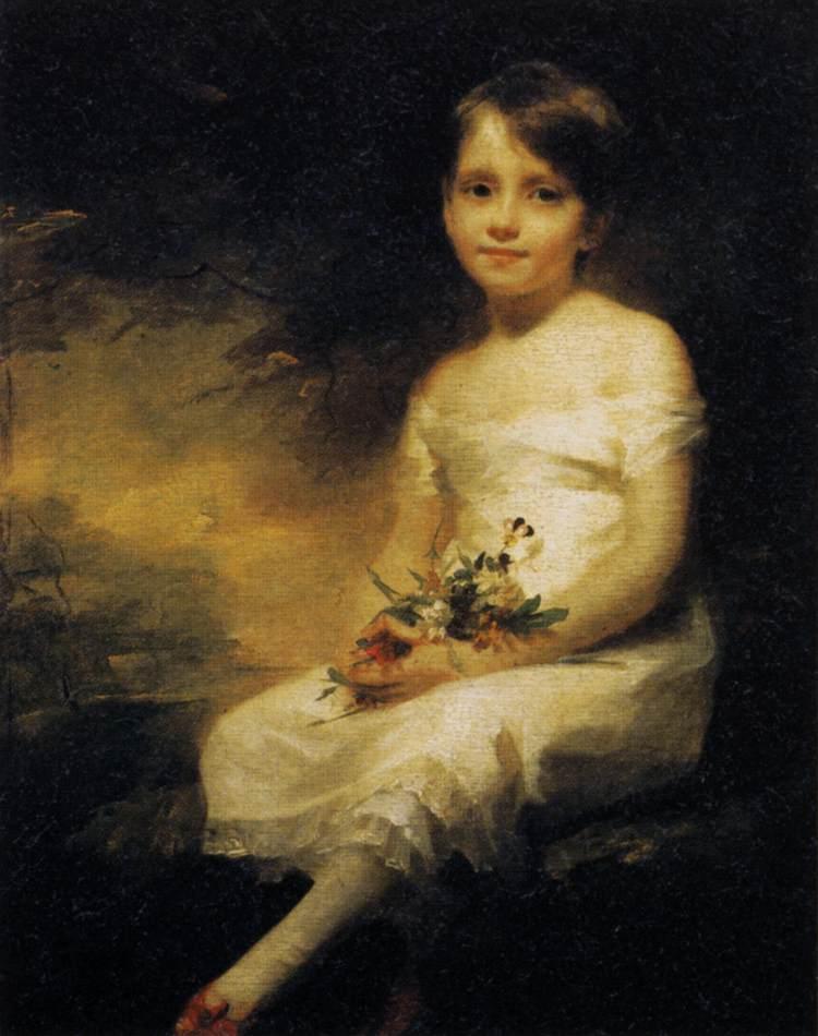 Little Girl Holding Flowers, Portrait of Nancy Graham - Henry Raeburn