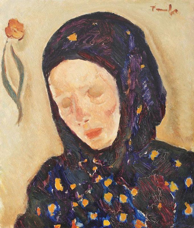 Little Girl With Flowery Headscarf - Nicolae Tonitza