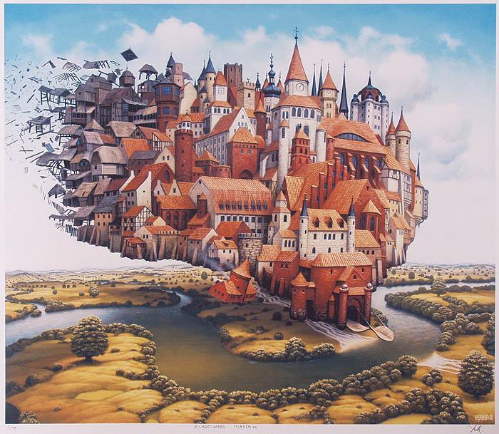 Loading cities - Jacek Yerka