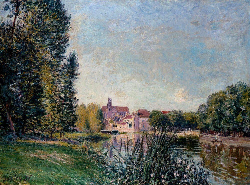 Loing River and Church at Moret - Alfred Sisley