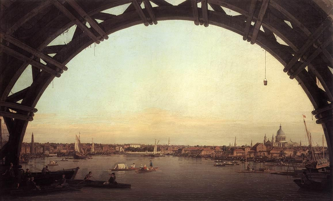 London seen through an arch of Westminster Bridge - Canaletto