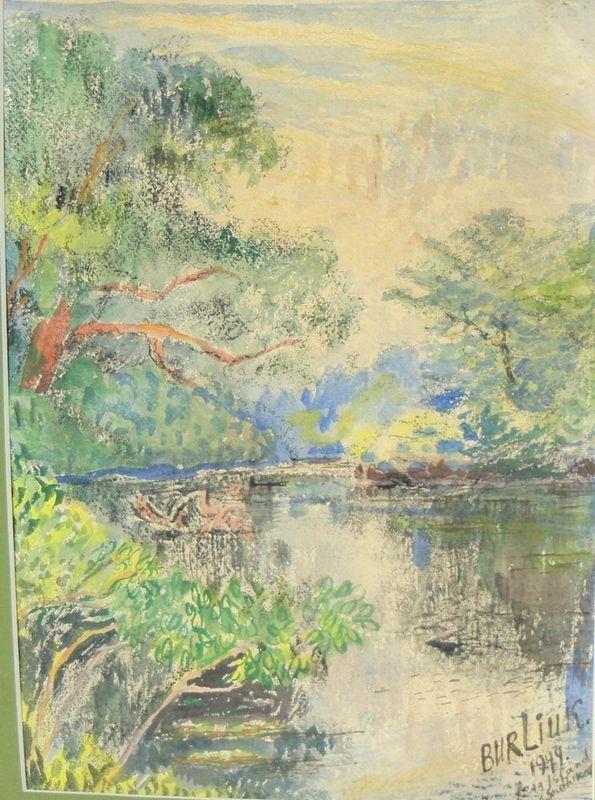 Long Island, summer landscape with a river - David Burliuk