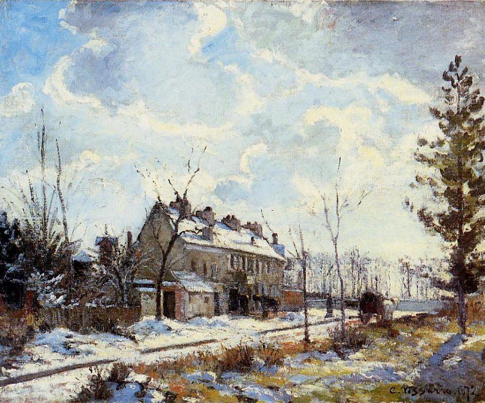 Louveciennes Road Snow Effect - Camille Pissarro