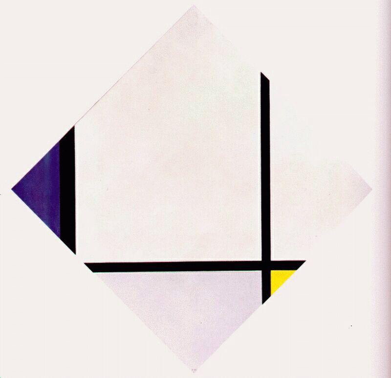 Lozenge Composition 3 Lines Blue Gray Yellow - Piet Mondrian