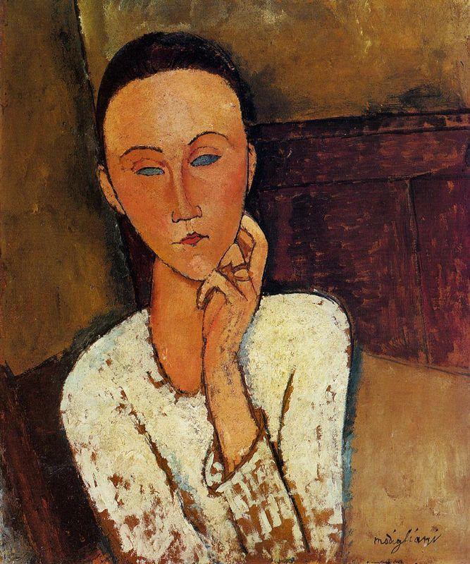 Lunia Czechowska with her left hand on her cheek - Amedeo Modigliani