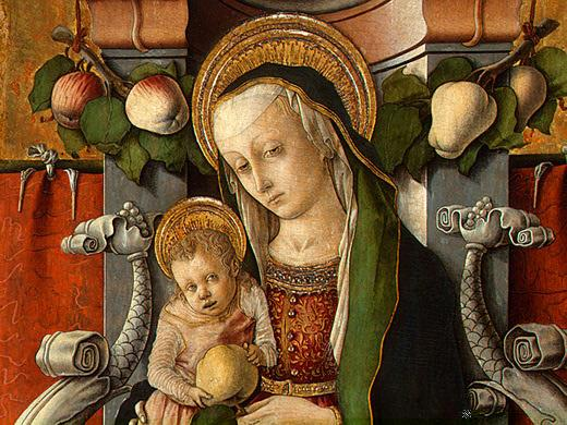 Madonna and Child enthroned with donor - Carlo Crivelli