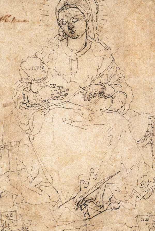 Madonna and Child on a Stone Bench - Albrecht Durer