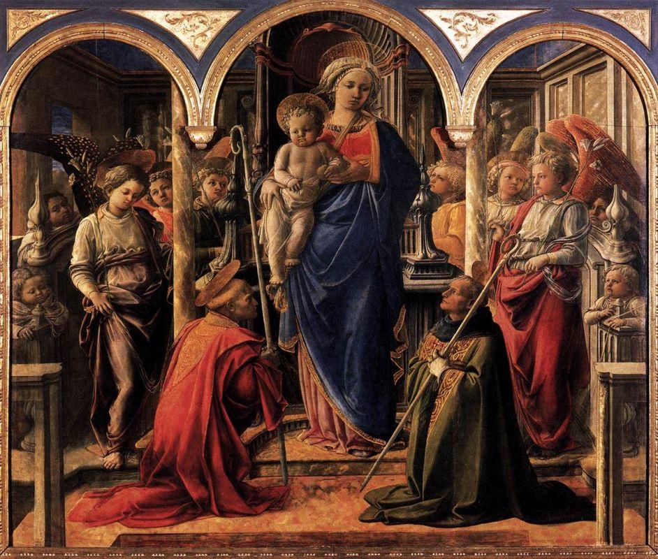 Madonna and Child with St. Fredianus and St. Augustine - Filippo Lippi