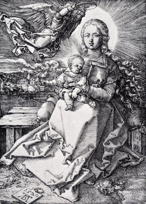 Madonna Crowned By An Angel - Albrecht Durer
