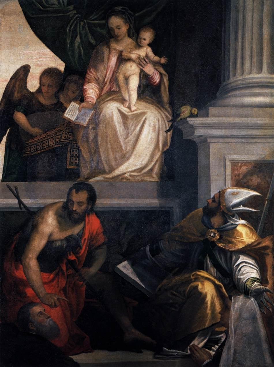 Madonna Enthroned with Child, St John the Baptist, St Louis of Toulouse and Donors - Paolo Veronese