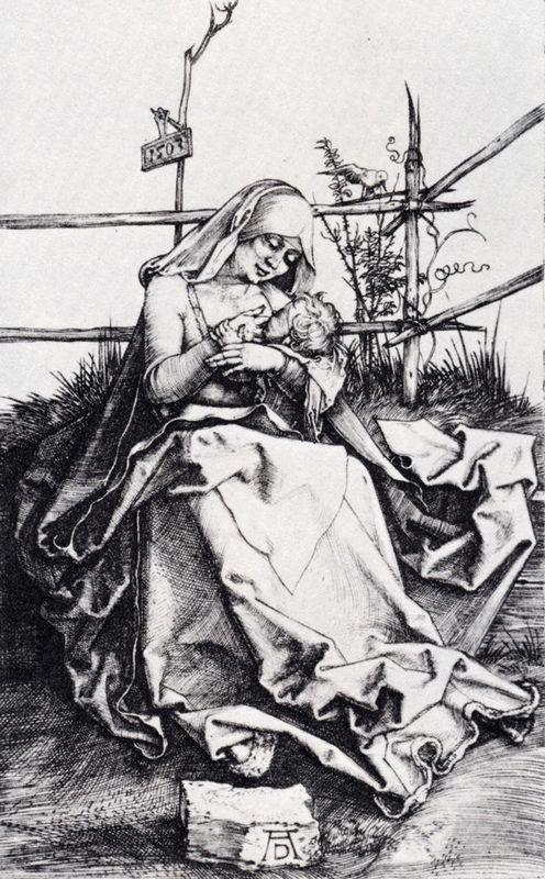 Madonna On A Grassy Bench - Albrecht Durer