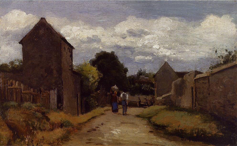 Male and Female Peasants on a Path Crossing the Countryside - Camille Pissarro