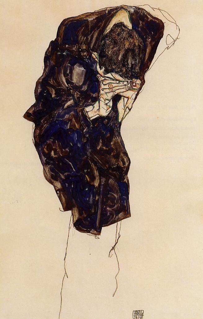 Man Bencind Down Deeply - Egon Schiele