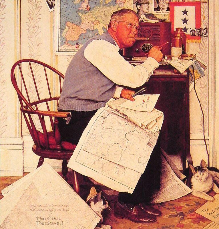 Man Charting WManeuvers - Norman Rockwell