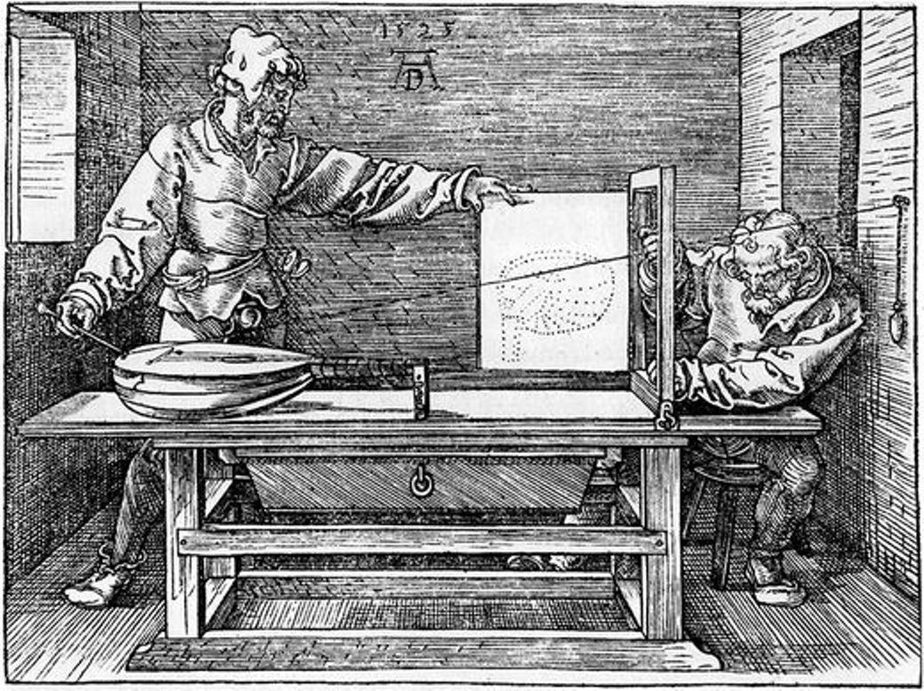 Man drawing a Lute - Albrecht Durer