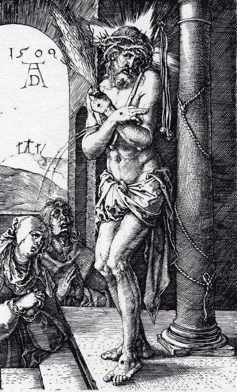 Man Of Sorrows By The Column (Engraved Passion) - Albrecht Durer