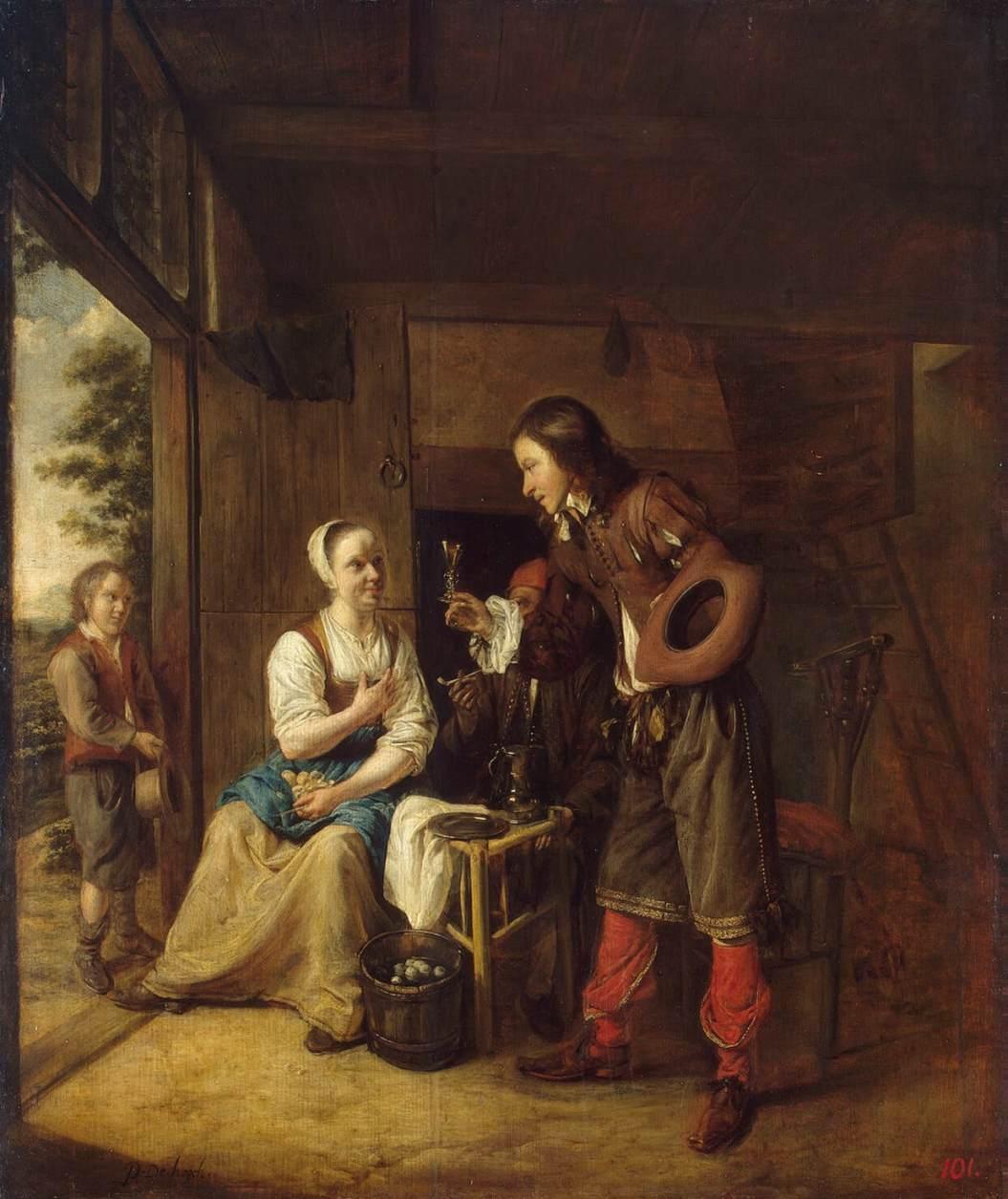 Man Offering a Glass of Wine to a Woman - Pieter de Hooch