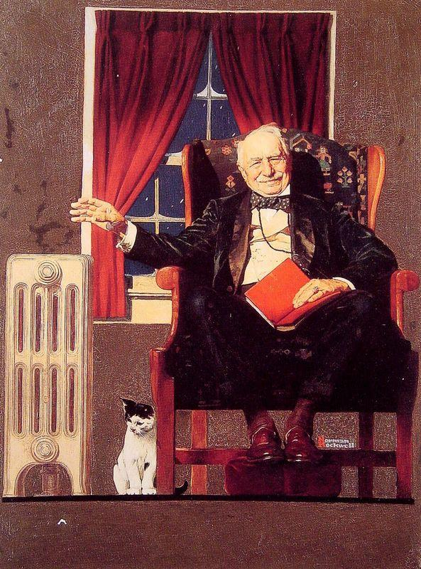 Man seated by a Radiator - Norman Rockwell