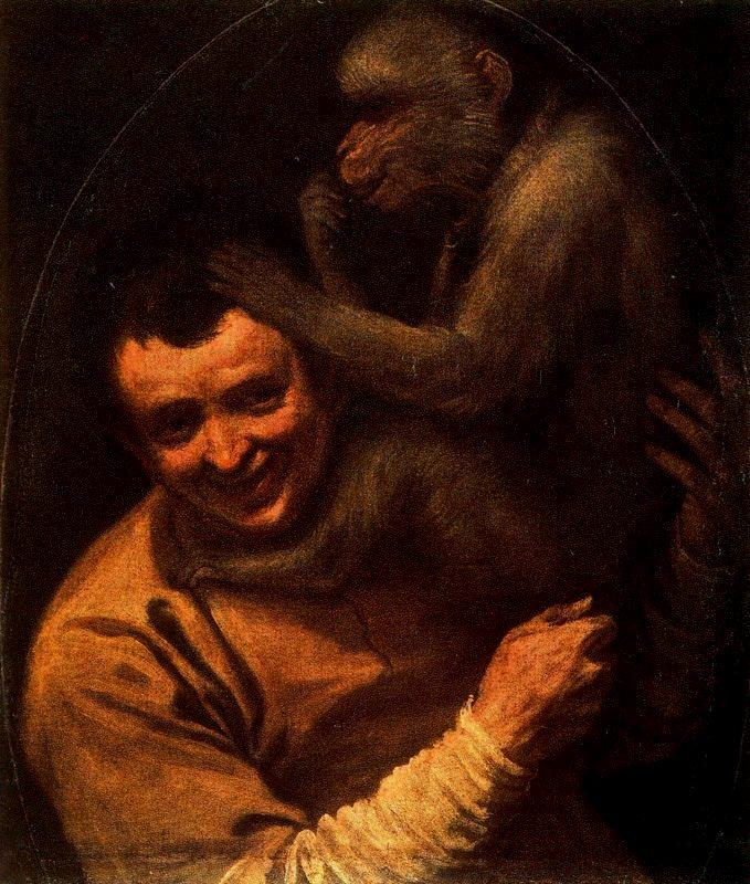 Man with Monkey - Annibale Carracci