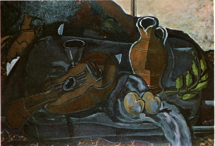Mandolin, Glass, Pot and Fruit - Georges Braque