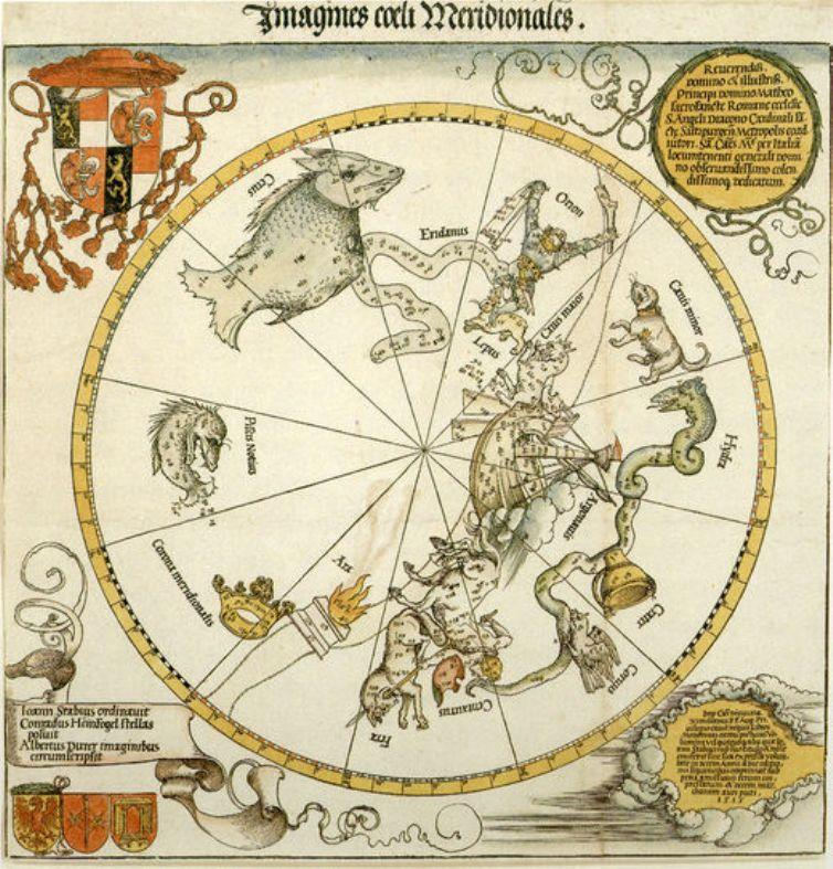 Map of the Southern Sky, with representations of constellations, decorated with the crest of Cardinal Lang von Wellenburg, and a dedication to him with his coats of arms and the Imperial copyright - Albrecht Durer
