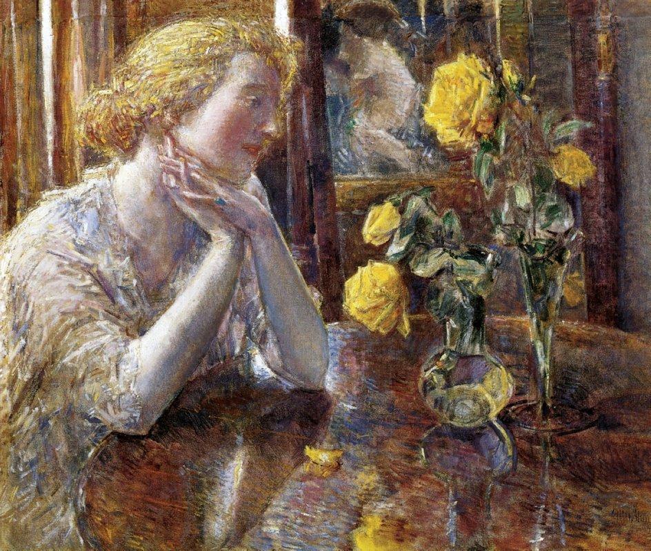 Marechal Niel Roses - Childe Hassam